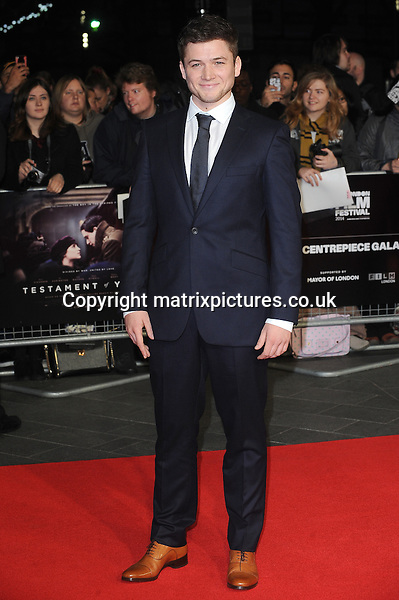 NON EXCLUSIVE PICTURE: PAUL TREADWAY / MATRIXPICTURES.CO.UK<br /> PLEASE CREDIT ALL USES<br /> <br /> WORLD RIGHTS<br /> <br /> Welsh actor Taron Egerton attending the 58th BFI London Film Festival Centrepiece Gala of Testament Of Youth, at Odeon Leicester Square in London.<br /> <br /> OCTOBER 14th 2014<br /> <br /> REF: PTY 144409