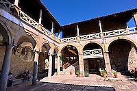 The cloisters of the Byzantine Metropolis Church , Mystras ,  Sparta, the Peloponnese, Greece. A UNESCO World Heritage Site
