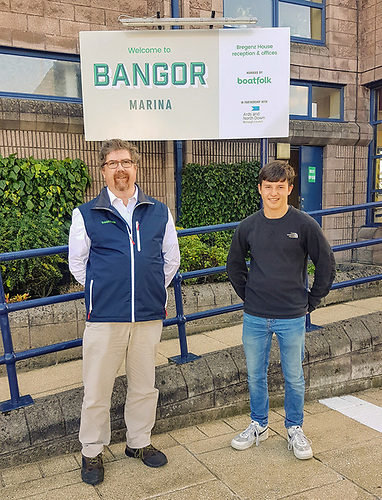 Bangor Marina Manager Kevin Baird welcomes solo sailor Timothy Long