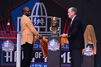 Canton, Ohio - August 3, 2019: Champ Bailey unveils his bust at the Tom Benson Hall of Fame Stadium in Canton, Ohio August 3, 2019 after his induction into the Pro Football Hall of Fame.  (Photo by Don Baxter/Media Images International)