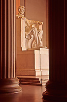 Lincoln Memorial, Lincoln Statue in Early Morning Sunrise.  Washington, DC, USA.  Statue by Daniel Chester French.