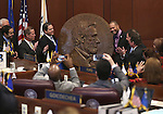 Officials unveiled a bronze relief of President Abraham Lincoln on the Senate floor at the Legislative Building in Carson City, Nev., on Thursday, Feb. 12, 2015. <br /> Photo by Cathleen Allison