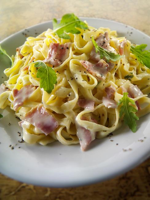 Traditional Italian tagliatelli Carbonara