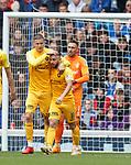 14.09.2019 Rangers v Livingston: Steven Lawless celebrates his penalty goal with Lyndon Dykes
