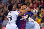 VELUX EHF 2017/18 EHF Men's Champions League Last 16.<br /> FC Barcelona Lassa vs Montpellier HB: 30-28.<br /> Arnaud Bingo, Timothey N'Guessan &amp; Ludovic Fabregas.
