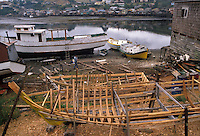 AJ2090, boats, Chile, Chiloe Island, Fishing boats under construction in Castro on Chiloe Island in Chile.