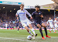 Leeds United's Patrick Bamford shields the ball from Sheffield Wednesday's Michael Hector<br /> <br /> Photographer Alex Dodd/CameraSport<br /> <br /> The EFL Sky Bet Championship - Leeds United v Sheffield Wednesday - Saturday 13th April 2019 - Elland Road - Leeds<br /> <br /> World Copyright © 2019 CameraSport. All rights reserved. 43 Linden Ave. Countesthorpe. Leicester. England. LE8 5PG - Tel: +44 (0) 116 277 4147 - admin@camerasport.com - www.camerasport.com