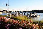 Evening sun on Mystic harbor in Connecticut USA