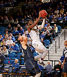 BROOKINGS, SD - NOVEMBER 1: Tevin King #2 from South Dakota State University takes  the ball to the basket past Logan Elers #24 from South Dakota School of Mines during their exhibition game Thursday night at Frost Arena in Brookings. (Photo by Dave Eggen/Inertia)