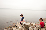 My sons, age five, left, and age two, right, explore Lake Springfield near Lincoln Memorial Garden.