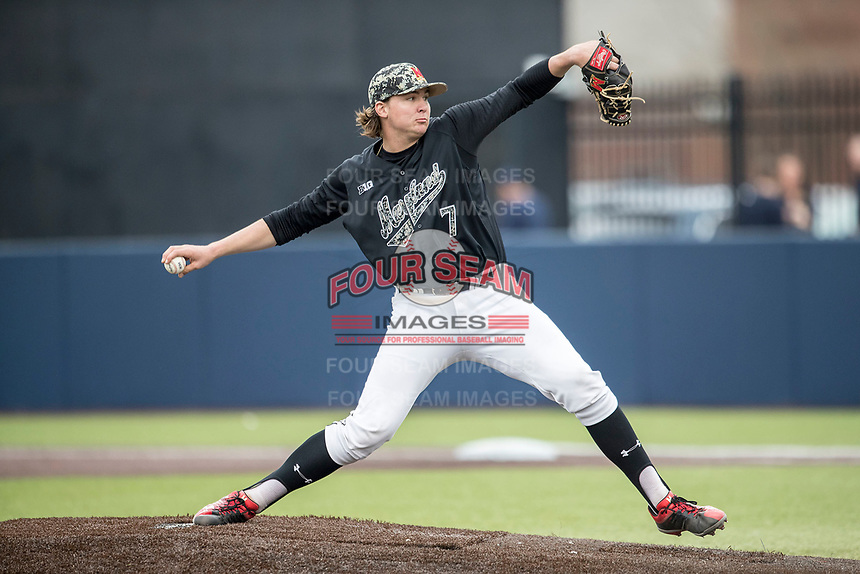 Maryland Terrapins pitcher Mike Vasturia (7) delivers a pitch to the plate against the Michigan Wolverines on April 13, 2018 in a Big Ten NCAA baseball game at Ray Fisher Stadium in Ann Arbor, Michigan. Michigan defeated Maryland 10-4. (Andrew Woolley/Four Seam Images)