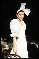 CARLA BRUNI<br /> Lecoanet-Hemant, spring-summer 1994<br /> Haute Couture, Paris<br /> Credit : TORDOIR/DALLE