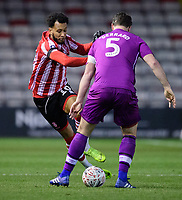 Lincoln City's Matt Green vies for possession with Carlisle United's Anthony Gerrard<br /> <br /> Photographer Chris Vaughan/CameraSport<br /> <br /> The Emirates FA Cup Second Round - Lincoln City v Carlisle United - Saturday 1st December 2018 - Sincil Bank - Lincoln<br />  <br /> World Copyright © 2018 CameraSport. All rights reserved. 43 Linden Ave. Countesthorpe. Leicester. England. LE8 5PG - Tel: +44 (0) 116 277 4147 - admin@camerasport.com - www.camerasport.com
