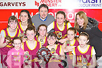 Castleisland Presentation school team that won the District NS Senior A final at the Castleisland basketball blitz on Friday l-r: Zara O'Connor, Labhaoise Walmsley, Nicole Downey, Chloe O'Connor. Back row: Aoife O'Connor, Marie Fleming,  Tommy O'Connor coach, Annie O'Connor, Emily Broderick, Darya O'Connell and Maura Browne teacher............
