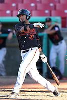 Bakersfield Blaze third baseman Jose Gualdron # 3 bats against the High Desert Mavericks at Mavericks Stadium on July 17, 2011 in Adelanto,California. Bakersfield defeated High Desert 11-10.(Larry Goren/Four Seam Images)