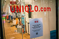 NEW YORK, NY - April 13:  UNIQLO store remains shuttered due to COVID-19 pandemic on April 13, 2020. in New York, United States. The global economy is facing the worst collapse since the WWII, while COVID-19  pandemic has now killed more than 22,000 people in the United States and at least 1,864,629 people died world wide. (Photo by Eduardo MunozAlvarez/VIEWpress)