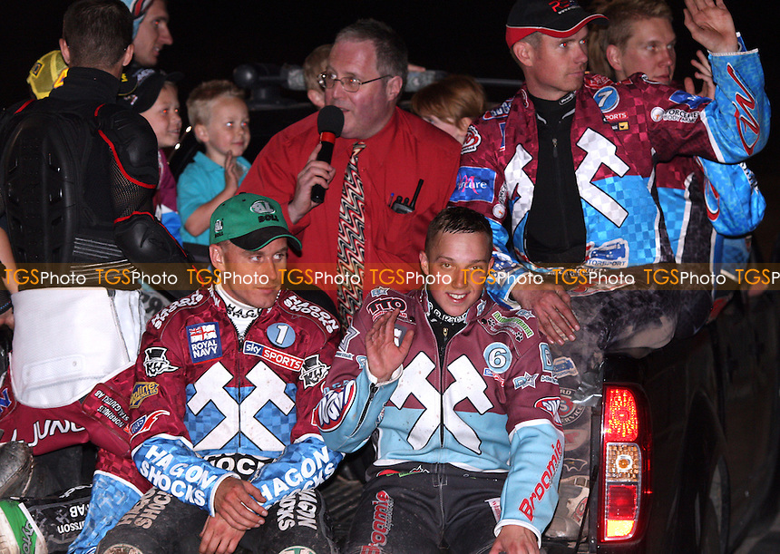 The victorious Lakeside Hammers parade at the end of the meeting - Lakeside Hammers vs Poole Pirates, Elite League Speedway at the Arena Essex Raceway, Purfleet - 06/05/11 - MANDATORY CREDIT: Rob Newell/TGSPHOTO - Self billing applies where appropriate - 0845 094 6026 - contact@tgsphoto.co.uk - NO UNPAID USE.