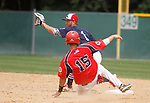 WATERBURY, CT - 06 AUGUST 2017 - 080617JW09.jpg -- #1 Sean Keady of the Braintree White Sox can't stop North Haledon Reds #15 Nick Ramagli from getting to second base Sunday afternoon at Waterbury Municipal Stadium during the Stan Musial East Coast World Series. Jonathan Wilcox Republican-American
