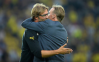 FUSSBALL  1. BUNDESLIGA  SAISON 2013/2014   3. SPIELTAG Borussia Dortmund - Werder Bremen                  23.08.2013 Umarmung: Trainer Juergen Klopp (li) und Hans-Joachim Watzke (re, beide Borussia Dortmund)
