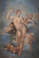 Ceiling fresco of Spring or Venus surrounded by putti, by Ambroise Dubois, 1542-1615, in the Galerie des Assiettes or Plate Gallery, built c. 1840 under Louis-Philippe at the Chateau de Fontainebleau, France. The early 17th century frescoes were transported here from the Diana Gallery. The Palace of Fontainebleau is one of the largest French royal palaces and was begun in the early 16th century for Francois I. It was listed as a UNESCO World Heritage Site in 1981. Picture by Manuel Cohen