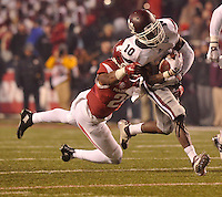 NWA Democrat-Gazette/MICHAEL WOODS • Mississippi State receiver Brandon Holloway is tackled by Arkansas defender Josh Liddell just short of the goal line in the 4th quarter of Saturday nights game at Razorback Stadium November 21, 2015.