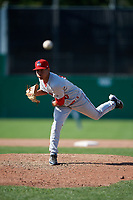 Auburn Doubledays relief pitcher Gilberto Chu (10) delivers a pitch during a game against the Batavia Muckdogs on September 2, 2018 at Dwyer Stadium in Batavia, New York.  Batavia defeated Auburn 5-4.  (Mike Janes/Four Seam Images)