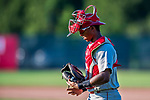 16 July 2017: Auburn Doubledays catcher Jeyner Baez walks back to the plate during a game against the Vermont Lake Monsters at Centennial Field in Burlington, Vermont. The Monsters defeated the Doubledays 6-3 in NY Penn League action. Mandatory Credit: Ed Wolfstein Photo *** RAW (NEF) Image File Available ***