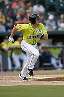 First baseman Brian Sharp (7) of the Columbia Fireflies runs toward first base in a game against the Charleston RiverDogs on Saturday, April 6, 2019, at Segra Park in Columbia, South Carolina. Columbia won, 3-2. (Tom Priddy/Four Seam Images)