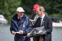 Henley Royal Regatta, Henley on Thames, Oxfordshire, 29 June-3 July 2015.  Thursday  10:50:06   30/06/2016  [Mandatory Credit/Intersport Images]<br /> <br /> Rowing, Henley Reach, Henley Royal Regatta.<br /> <br /> Official Timekeepers and the Race Reporter on the Stern of the Umpire's Launch
