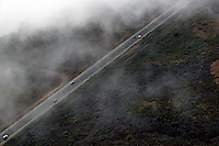 aerial photograph fog Highway One coastal Santa Cruz county, California