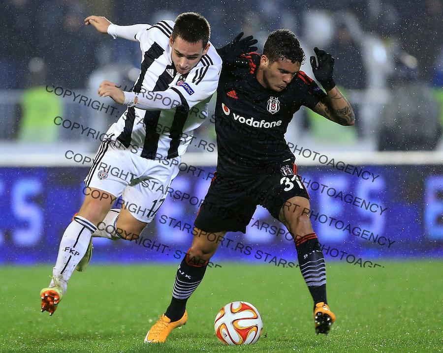 Fudbal Football Soocer<br /> UEFA Europe League <br /> Partizan v Besiktas<br /> Andrija Zivkovic (L) and Ramon Motta<br /> Beograd, 23.09.2014.<br /> foto: Srdjan Stevanovic/Starsportphoto&copy;