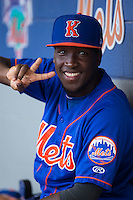 Santo Marte (1) of the Kingsport Mets during the game against the Greeneville Astros at Hunter Wright Stadium on July 7, 2015 in Kingsport, Tennessee.  The Mets defeated the Astros 6-4. (Brian Westerholt/Four Seam Images)