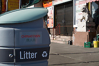 A trash can is seen in Toronto Chinatown April 19, 2010. Toronto Chinatown is an ethnic enclave in Downtown Toronto with a high concentration of ethnic Chinese residents and businesses extending along Dundas Street West and Spadina Avenue.