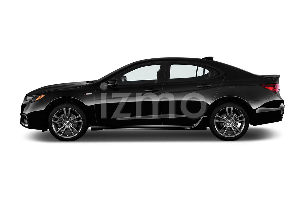 Car driver side profile view of a 2018 Acura TLX AUTO Technology & A-Spec Pack  RED Door 4 Sedan