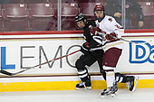 Garrett Gamez (PC - 13), Matthew Gaudreau (BC - 21) - The Boston College Eagles defeated the visiting Providence College Friars 3-1 on Friday, October 28, 2016, at Kelley Rink in Conte Forum in Chestnut Hill, Massachusetts.The Boston College Eagles defeated the visiting Providence College Friars 3-1 on Friday, October 28, 2016, at Kelley Rink in Conte Forum in Chestnut Hill, Massachusetts.