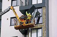 2017 06 27 Cladding removed from Kennedy Gardens flats, Billingham, UK