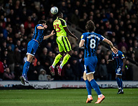 Bolton Wanderers' Joe Dodoo (centre) competing with Rochdale's Eoghan O'Connell (left) <br /> <br /> Photographer Andrew Kearns/CameraSport<br /> <br /> The EFL Sky Bet League One - Rochdale v Bolton Wanderers - Saturday 11th January 2020 - Spotland Stadium - Rochdale<br /> <br /> World Copyright © 2020 CameraSport. All rights reserved. 43 Linden Ave. Countesthorpe. Leicester. England. LE8 5PG - Tel: +44 (0) 116 277 4147 - admin@camerasport.com - www.camerasport.com