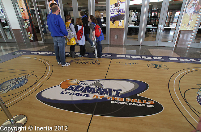 SIOUX FALLS, SD - MARCH 3:  South Dakota State University fans line up to enter the Summit League Championship game at the Sioux Falls Arena Saturday morning.  (Photo by Dick Carlson/Inertia)