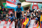 A dejected Marc Soler (ESP) Movistar Team crosses the finish line in 5th place at the end of Stage 9 of La Vuelta 2019 running 99.4km from Andorra la Vella to Cortals d'Encamp, Spain. 1st September 2019.<br /> Picture: Colin Flockton | Cyclefile<br /> <br /> All photos usage must carry mandatory copyright credit (© Cyclefile | Colin Flockton)