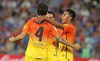 GETAFE, ESPANHA, 15 SETEMBRO 2012 - CAMP. ESPANHOL - GETAFE X BARCELONA - Fabregas (de costas) jogador do Barcelona comemora seu gol durante lance de partida contra o Getafe em jogo valido pela 4 rodada do campeonato espanhol em Getafe na Espanha, neste sabado. O Barcelona venceu por 4 a 1 e se mantem na lideranca. (FOTO: ALFAQUI / BRAZIL PHOTO PRESS).