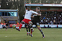 Don Cowan of Stevenage holds off Ryan Nelsen of Spurs. Stevenage v Tottenham Hotspur - FA Cup 5th Round - Lamex Stadium, Stevenage - 19th February 2012 . © Kevin Coleman 2012