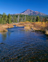 ORCAC_090 - USA, Oregon, Deschutes National Forest, South side of Broken Top rises beyond autumn-colored willows and grasses along Fall Creek.