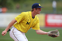 March 21, 2010:  Third Baseman Kevin Krantz (28) of the Michigan Wolverines in the field during a game at Tradition Field in St. Lucie, FL.  Photo By Mike Janes/Four Seam Images