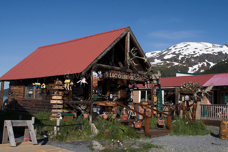 Eccentric, hokey souvenir  shop in whittier, Alaska.......The strangest town in Alaska, Whittier - only reachable by tunnel or ship. It's a stop off point for Cruise ships, and the Alaska raildroad. 90% of inhabitants live in one building! Originally established as a military base during World War two.