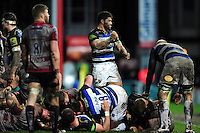 Amanaki Mafi of Bath Rugby celebrates as referee Wayne Barnes awards his side a penalty. Aviva Premiership match, between Gloucester Rugby and Bath Rugby on March 26, 2016 at Kingsholm Stadium in Gloucester, England. Photo by: Patrick Khachfe / Onside Images