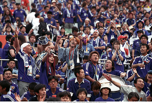 JAPAN Fans, JAPAN 2 v Belgium 2, FIFA World Cup 2002, Stage 1, Group H, Saitama, Japan 020604 Photo:Neil Tingle/Action plus...Soccer.Football.international.waves supporters crowd crowds