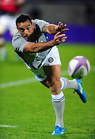 Kahn Fotuali'i of Bath Rugby passes the ball during the pre-match warm-up. European Rugby Challenge Cup match, between Pau (Section Paloise) and Bath Rugby on October 15, 2016 at the Stade du Hameau in Pau, France. Photo by: Patrick Khachfe / Onside Images