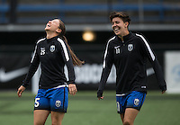 Seattle, WA - Saturday Aug. 27, 2016: Kiersten Dallstream, Keelin Winters prior to a regular season National Women's Soccer League (NWSL) match between the Seattle Reign FC and the Portland Thorns FC at Memorial Stadium.