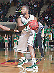 North Texas Mean Green forward Jacob Holmen (1) in action during the game between the Louisiana Lafayette Ragin Cajuns and the University of North Texas Mean Green at the North Texas Coliseum,the Super Pit, in Denton, Texas. Louisiana Lafayette defeats UNT 57 to 53.