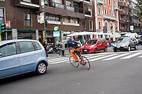 Milano 13 Ottobre: si è svolta sabato l'Alleycat race, la gara in bici ispirata ai pony express. Nella foto partecipanti durante la gara per le strade di Milano